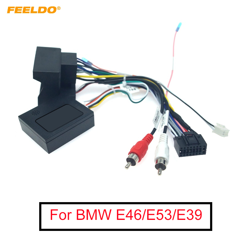 FEELDO Car Audio Radio 16PIN Android Power Cable Adapter With Canbus Box For BMW E46/E53/E39 DVD Power Wiring Harness