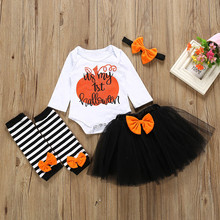 Baby Girl Halloween Letter Romper Striped Leg Warmers Tutu Skirts Headband Sets Newborn Toddler Infant Autumn Fashion Outfits