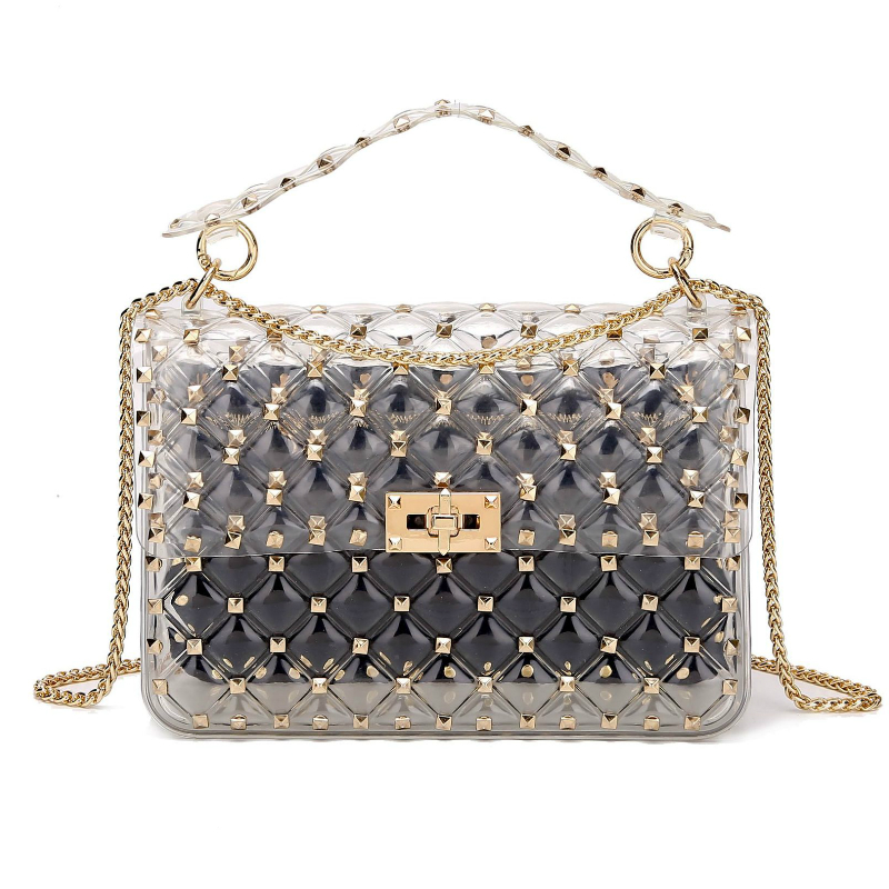 d1820295aeec Hot Offer] rivets transparent totes bag clear pvc plastic quilted ...