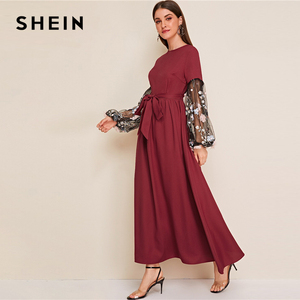 Image 4 - SHEIN Flower Applique Mesh Lantern Sleeve Belted Women Dress Round Neck Long Sleeve Maxi Dress High Waist Elegant Dress