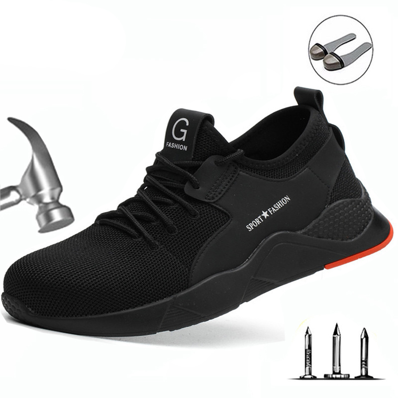Labor Insurance Shoes Casual Shoes Safety Anti-Smash Stab Deodorant Breathable Oil-Resistant Non-Slip Steel Toe Cap Work Shoes