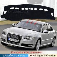 Pokrywa deski rozdzielczej podkładka ochronna dla Audi A8 D3 2003 ~ 2010 4E akcesoria samochodowe deska rozdzielcza osłona przeciwsłoneczna anty-uv dywan s-line 2007 2008