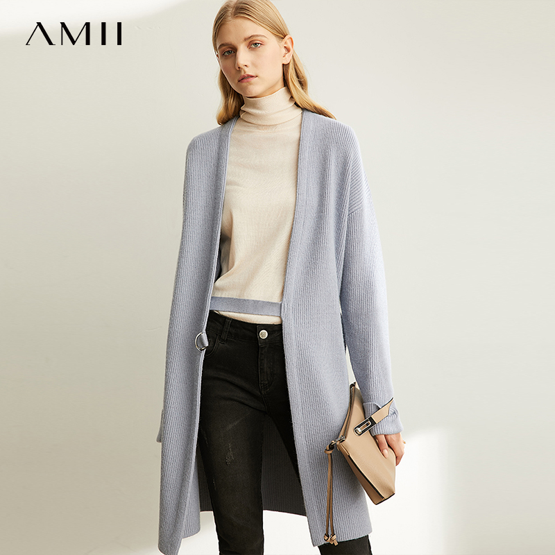 Amii Sweater Outerwear Women's Spring New Black Medium Long Knitted Cardigan Coat  11920250