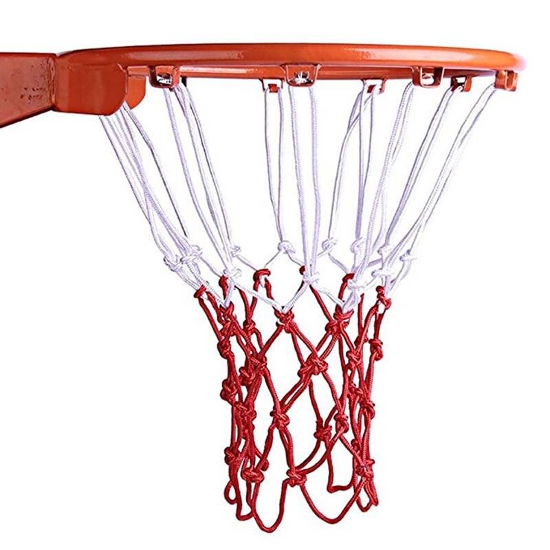 Стандартная нейлоновая баскетбольная сетка с нитью, спортивный баскетбольный обруч, сетчатая задняя панель, окантовка для мяча, белый, крас...