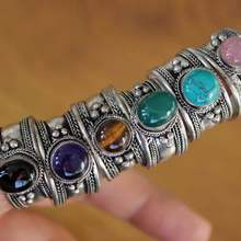 RG335 incrustaciones plata tibetana varios anillo de cuentas hecho a mano Nepal Original 12mm anillo para mujer, anillo ajustable
