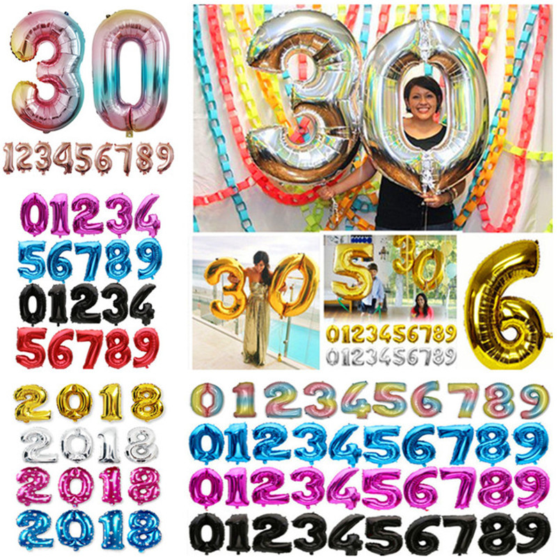 32 inch Foil Balloons Gold Silver Helium Balloon Big Wedding Happy Birthday Balloons Decoration Number Giant Balloon Party Balls