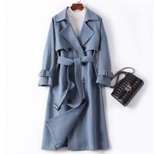 NEW Trend Haze Blue Women Trench Coat Autumn Winter Brand Hi