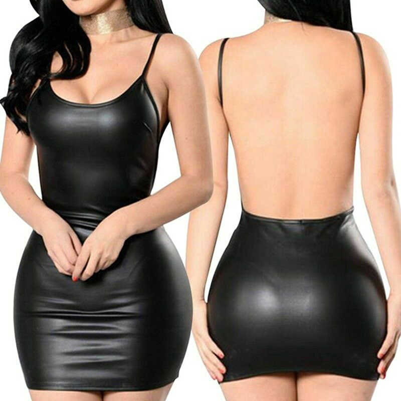 2019 Sexy Faux Leder Kleid Backless Club Party Kurze Kleid Solid Black Wet Look Latex Bodycon Push-Up Bh Mini micro Kleid