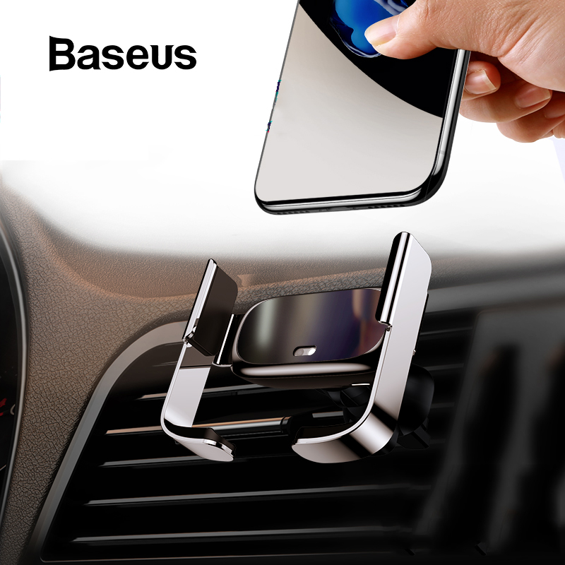 Baseus Mini Automatic Clamping Car Phone Holder For IPhone No Wireless Charging Air Vent Mount Car Holder For Samsung Xiaomi
