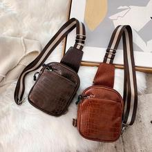 Hot Sale Handbags Solid Color Retro Crocodile Leather Chest Bag Fashion Unisex Waist Pack Casual Crossbody for Hiking
