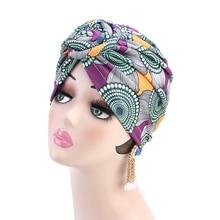 Helisopus 2020 Fashion Women Knotted Print Turban Muslim Turban Twist Knot India Hat Ladies Chemo Cap Bandanas Hair Accessories
