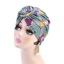 Helisopus 2020 패션 여성 매듭 인쇄 Turban 이슬람 Turban 트위스트 매듭 인도 모자 숙녀 Chemo 모자 Bandanas 헤어 액세서리