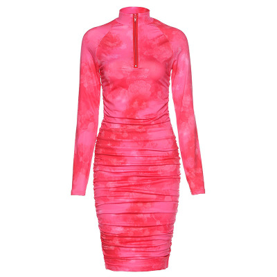 2020 Spring  Long Sleeve Tie Dye Ruched Bodycon Sexy Midi Dress Women Streetwear Outfits Party Bright Clothing 9