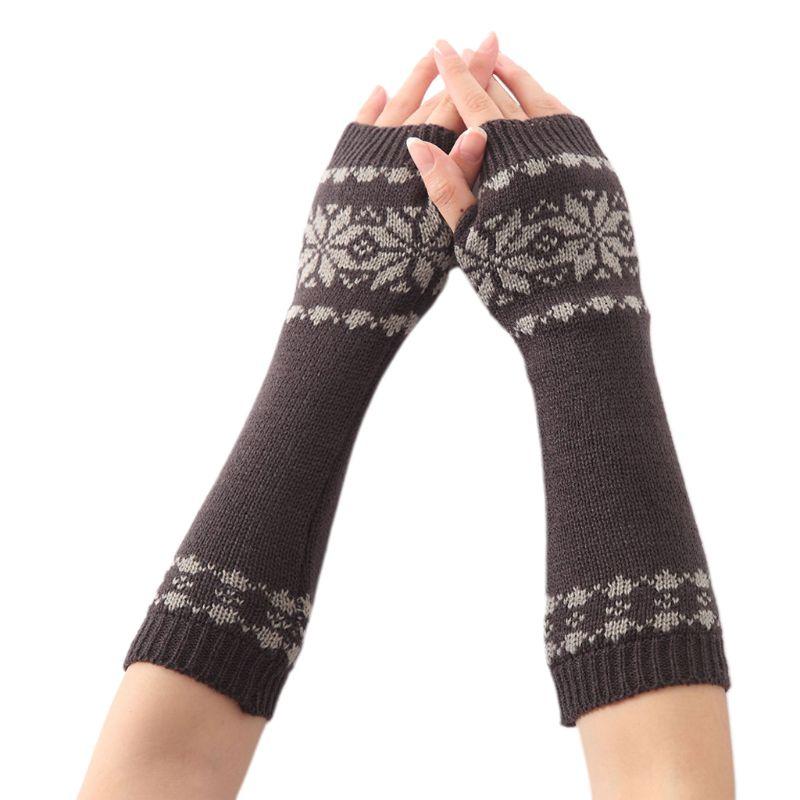 Women Men Unisex Snowflake Pattern Jacquard Fingerless Gloves Winter Crochet Knit Arm Warmers Mittens With Thumbhole Gift 449F