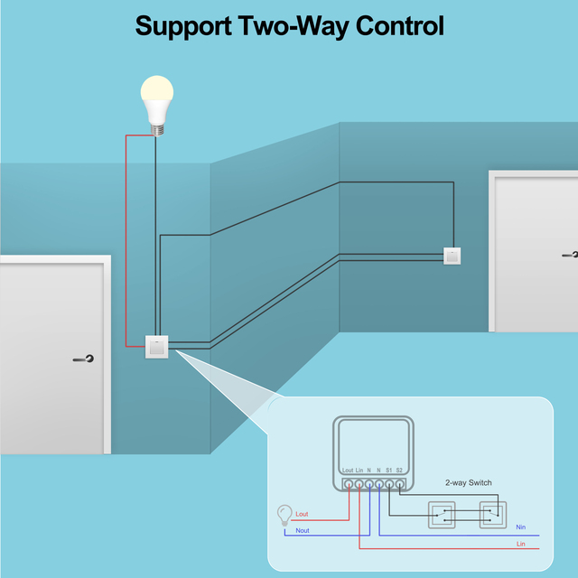 16A Mini Smart Wifi DIY Switch Supports 2 Way Control, Smart Home Automation Module, Works with Alexa Google Home Smart Life App 3