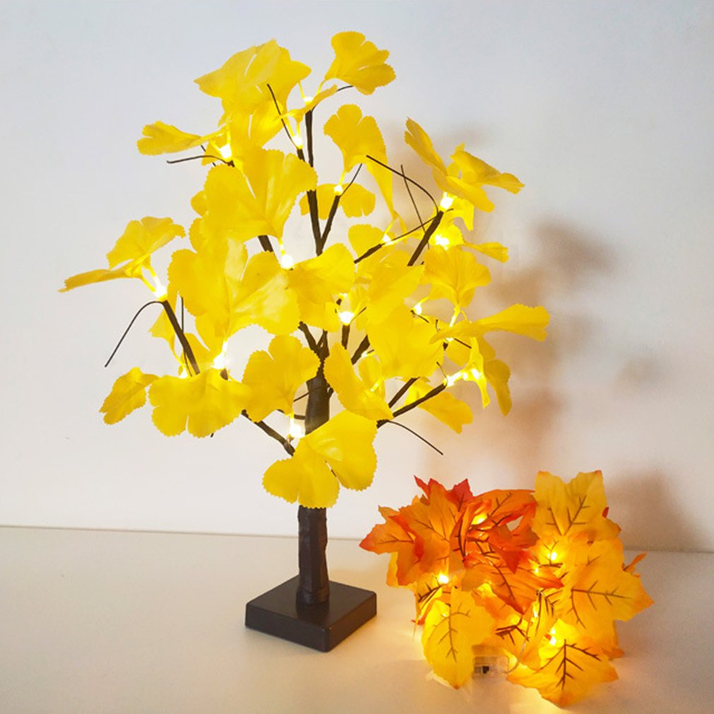 24LED Tree Light Ginkgo Leaf Tree Light String Christmas Garden Landscape Decoration Indoor Battery Light