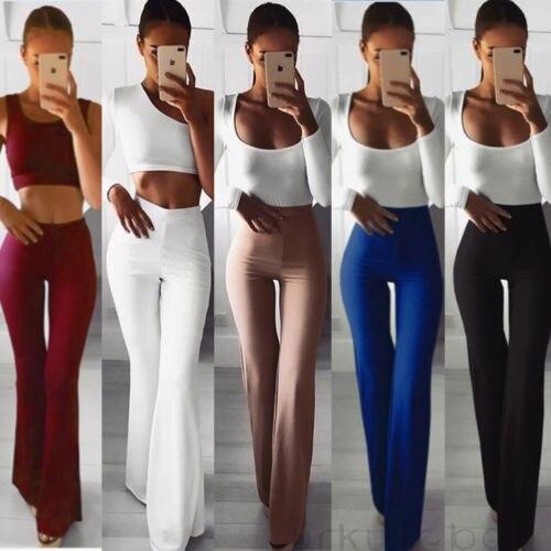 Hirigin Brand New Women Skinny Trousers Palazzo Casual Long Wide Leg Plain High Waist Slim Pants