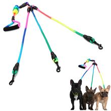 New Rainbow Multi Dogs Leash Nylon Detachable Pet Lead foam handle 1 leash for 2 or 3 or 4 Dogs Round Traction Rope Dog Supplies