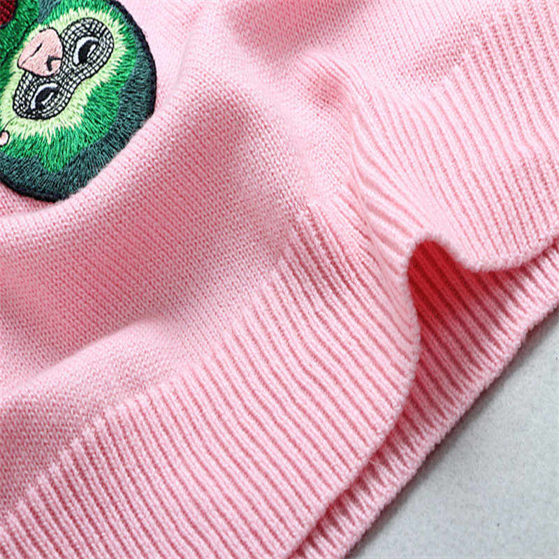 Ruanway 스팽글 구슬 니트 스웨터 여성 드롭 슬리브 겨울 풀오버 원숭이 모든 경기 점퍼 핑크 당겨 Femme 동물 탑스