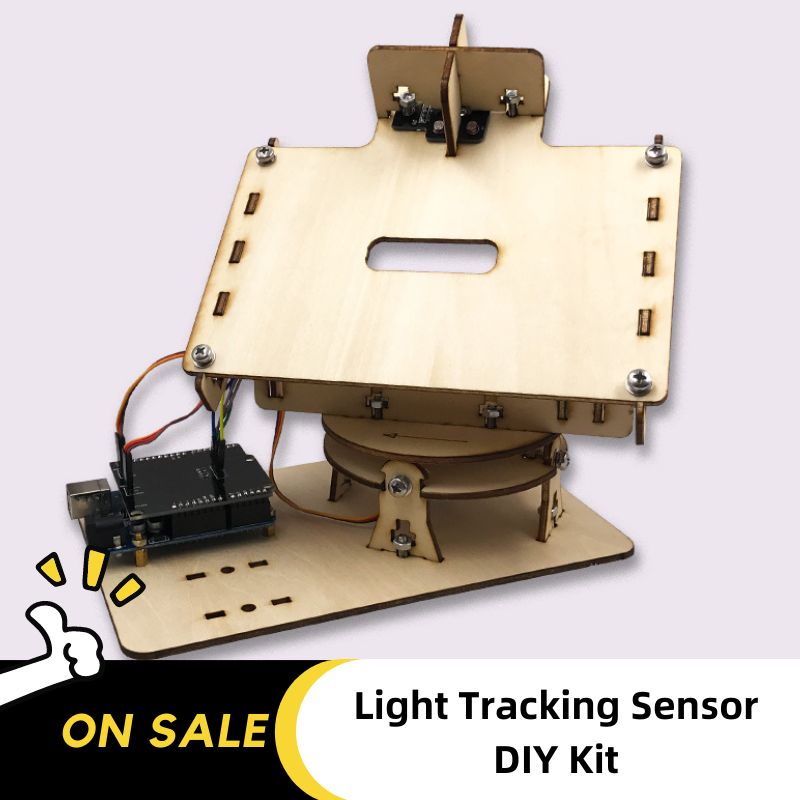 DIY Wooden Dual-Axis Light Tracker Sensor Toys Electronic Material Package Power Supply 12V