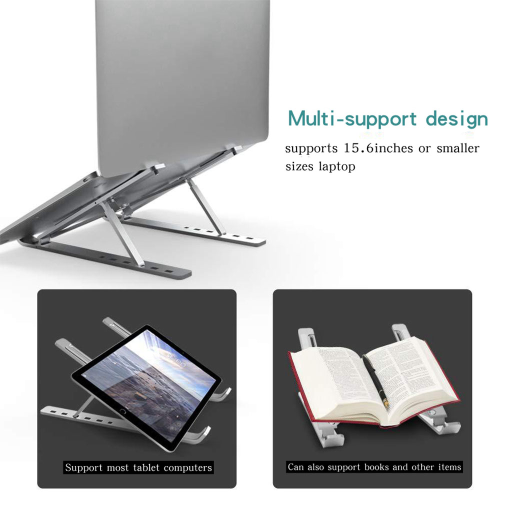 ELENXS Folding Portable Laptop Stand Viewing Angle/Height Adjustable Quality Aluminum Alloy Bracket Support 10-17inch Notebook