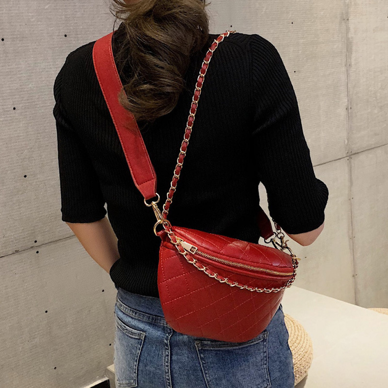 New Chain Waist Bag Women Leather Belt Bag Women Fanny Pack Zipper Hip Bag High Capacity Banana Bag Shoulder Belt Kidney Bags