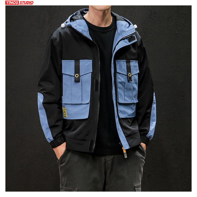 Dropshipping Men Japanese Streetwear Cargo Patchwork Jacket 2019 Loose Outdoor Solid Overalls Coats Autumn Slim Fit Pocket Tops
