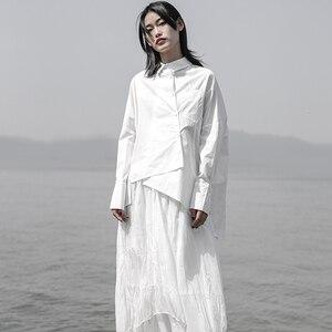 Image 3 - [EAM] 2020 חדש אביב סתיו דש ארוך שרוול לבן Loose Oversize סדיר רופף חולצה נשים חולצה אופנה גאות JS921