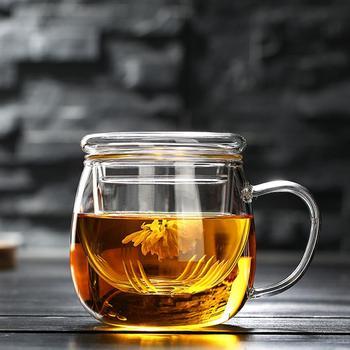 Kreatywny przezroczysty szklany kubek do herbaty naczynia do picia klasyczny żaroodporny szklany szklanka kubek do herbaty szklany kubek do kawy z pokrywką tanie i dobre opinie ROUND Szkło Creative Transparent Glass Tea Cup