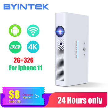 BYINTEK Mini 3D Projector R19 4K ,Smart Wifi Android Beamer, 1