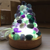 New arrival color fluorite natural crystal lamp power point healing home decoration usb