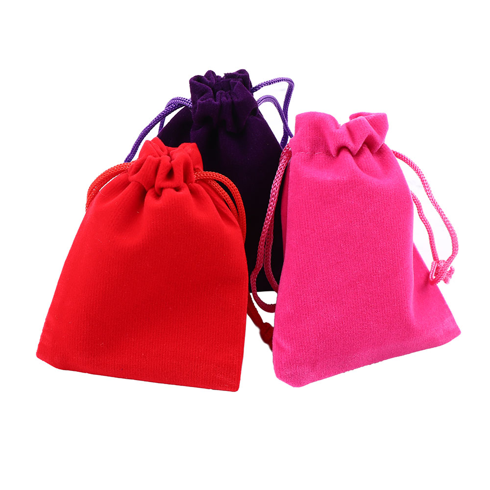 2pc/10pcs 7x9cm Coloful Velvet Pouches Jewelry Packaging Display Drawstring Packing Gift Bags & Pouches Storage Bag