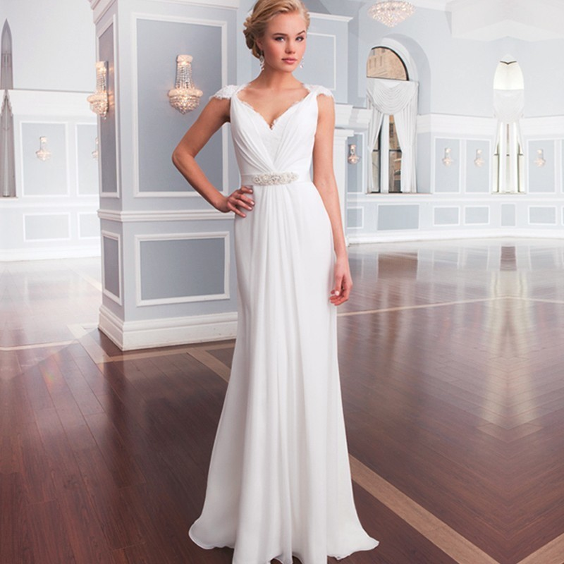 Wedding Gowns 2018 New Design V-neck Cap Sleeve Chiffon Lace Belt Vestido De Novia Vintage Casamento Mother Of The Bride Dresses