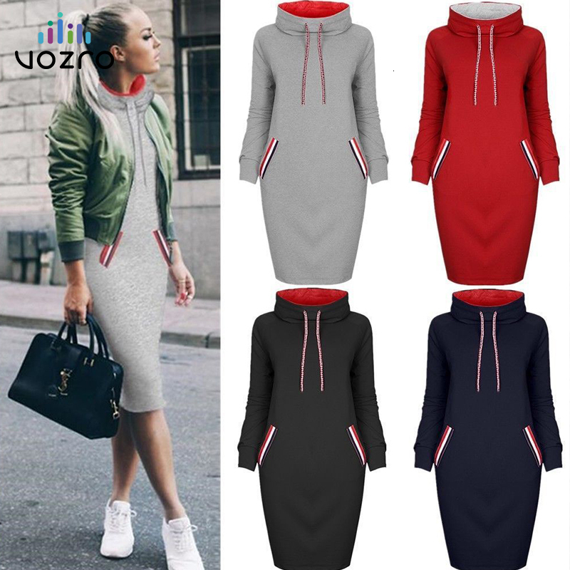 VOZRO Multicolor High Lead Long Sleeve Package Buttocks Winter Maxi Autumn Casual Sweater Red Dress Women Vestido Clothes Befree
