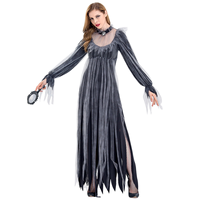 Vampire Bride Cosplay Costume Women Mesh Pleated Long Dress Carnival Halloween Party Zombie Bride Clothes Set for Photo Shoot