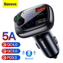 Baseus Quick Charge 4.0 3.0 USB Car Charger QC QC4.0 Bluetooth FM Transmitter Car Kit For iPhone 11 Pro Max 5A Fast PD Charger