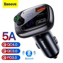 Baseus cargador USB de coche para iPhone 11 Pro Max 5A, Cargador USB 4,0 de carga rápida QC QC4.0 con Bluetooth, transmisor FM, cargador PD rápido