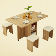 Chair-Set Furniture Dining-Table Folding Kitchen Dinner Restaurant Wooden 140cm Movable-Mobili