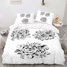 Sketch Black Flower Pattern 180×210 Duvet Cover Set With Pillowcase, 220×260 Quilt Cover,    King Size Bedding