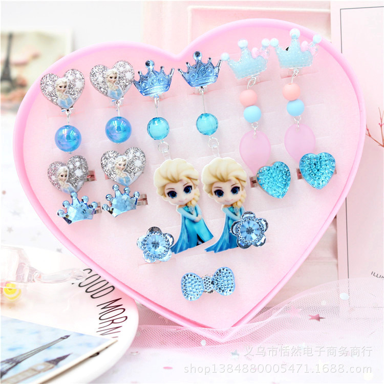 Frozen 2 Toys For Girls Cute Children's Long Style Ear Clip Painless Earrings Primary School Elsa Princess Kid Earrings Gift Box
