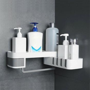 Corner Storage Rack Shower Shelf Organizer for Bathroom Kitchen Decoration Punching-free Wall Mounted Storage Rack Holder 1