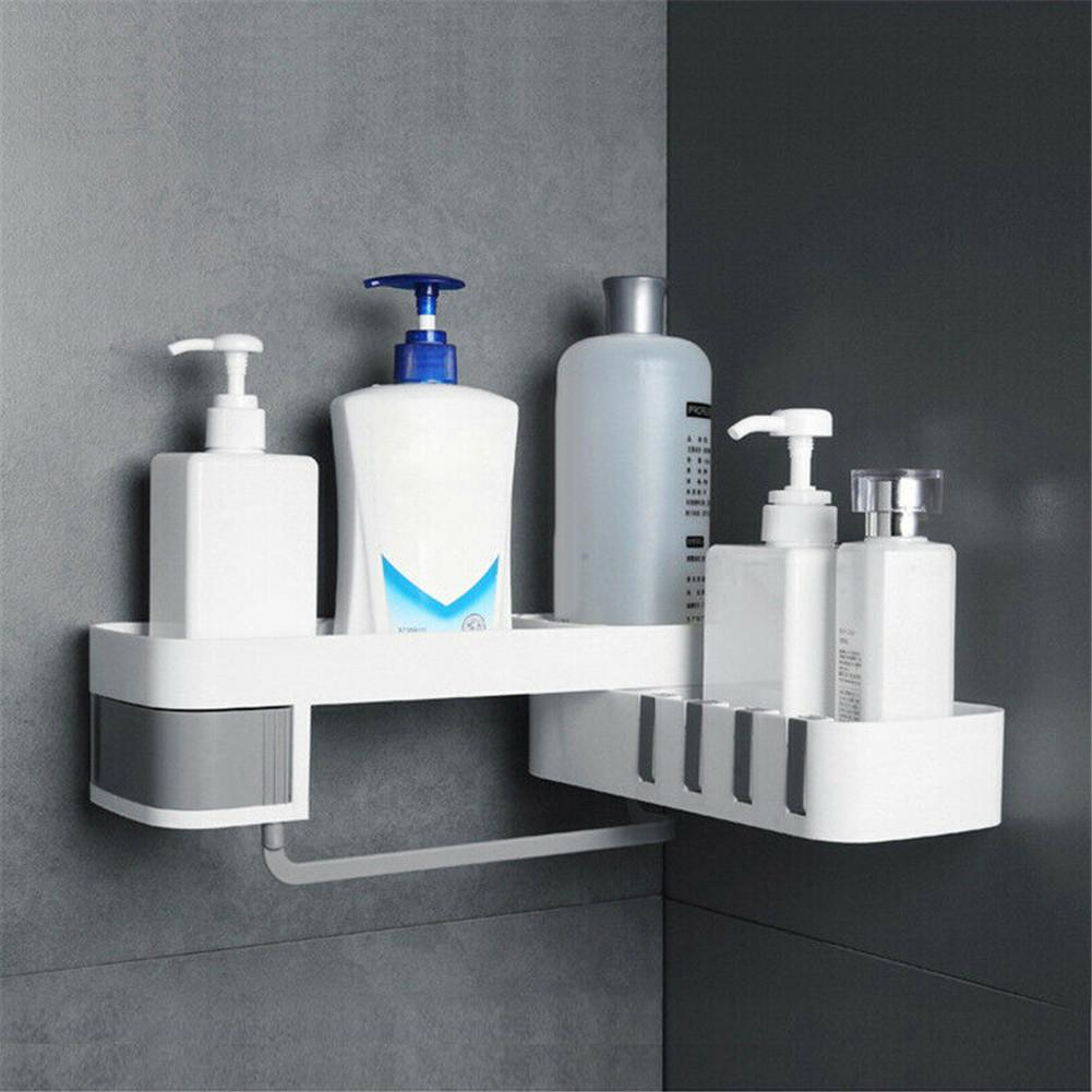 Corner Storage Rack Shower Shelf Organizer For Bathroom Kitchen Decoration Punching-free Wall Mounted Storage Rack Holder