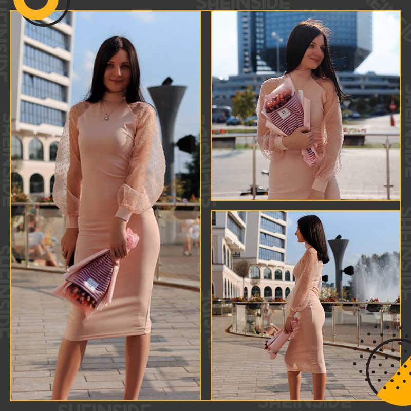 Sheinside элегантное контрастное Сетчатое платье-карандаш с рукавом для женщин 2019 пружинная подставка воротник миди платья Женские однотонные платья с разрезом сзади