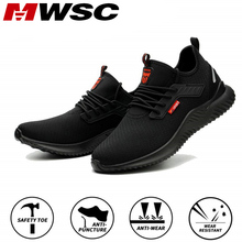 MWSC Work Safety Shoes Men Steel Toe Cap Indestructible Working Boots Anti smashing Men Construction Boots Safety Work Sneakers