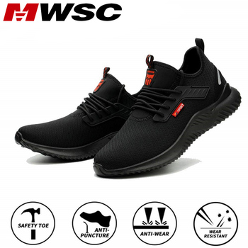 MWSC Work Safety Shoes Men Steel Toe Cap Indestructible Working Boots Anti-smashing Men Construction Boots Safety Work Sneakers