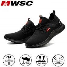 MWSC iş güvenliği ayakkabıları erkekler çelik burun yıkılmaz iş çizmeleri Anti smashing erkekler inşaat botları güvenlik iş Sneakers
