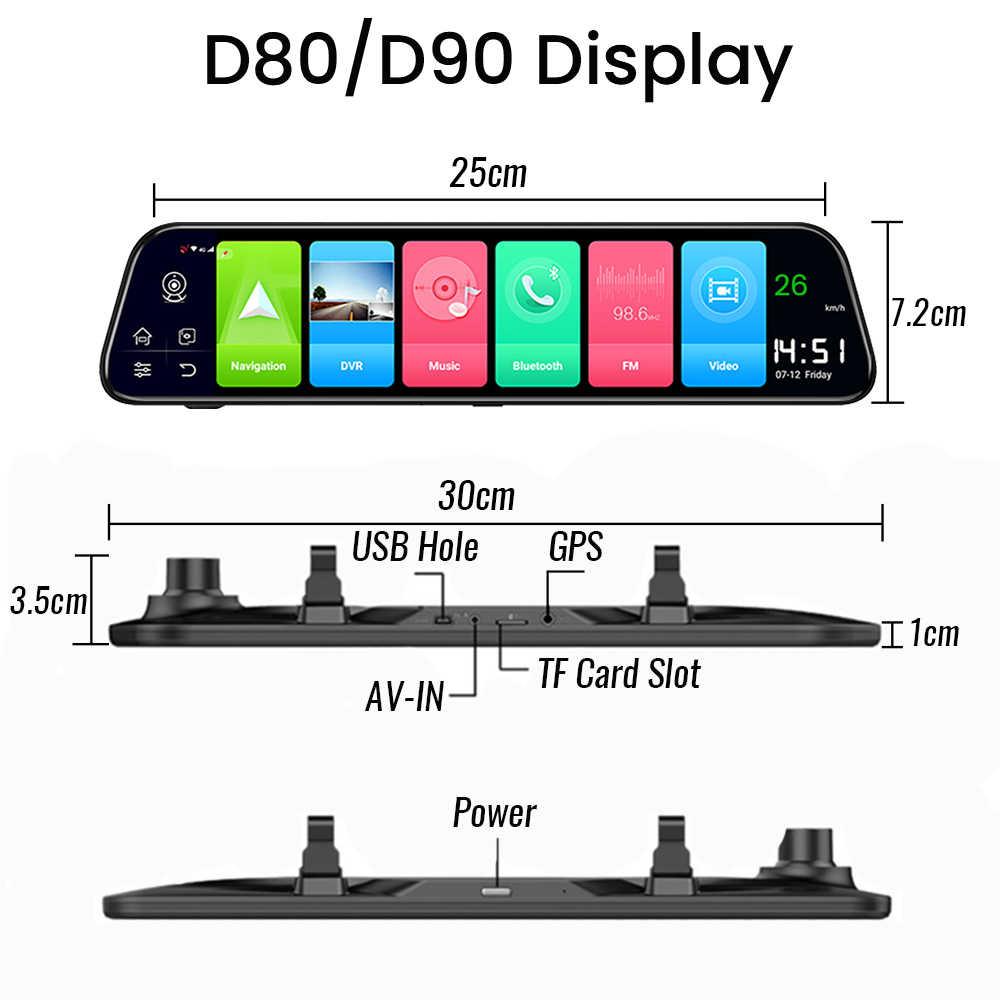 12 Inch DVR Xe Ô Tô Android 8.1 4G WiFi GPS Dẫn Đường Kính Chiếu Hậu Tự Động Đầu Ghi DVR Xe Ô Tô Gương Dash Camera siêu Nhỏ FHD Gương Xe Ô Tô