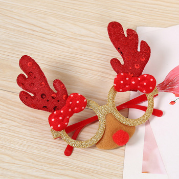 Christmas  Elk Antlers Reindeer Glasses Frame With Nose Toys New Year Party Supplies Gifts For Adult Kid Xmas Party Photo Props