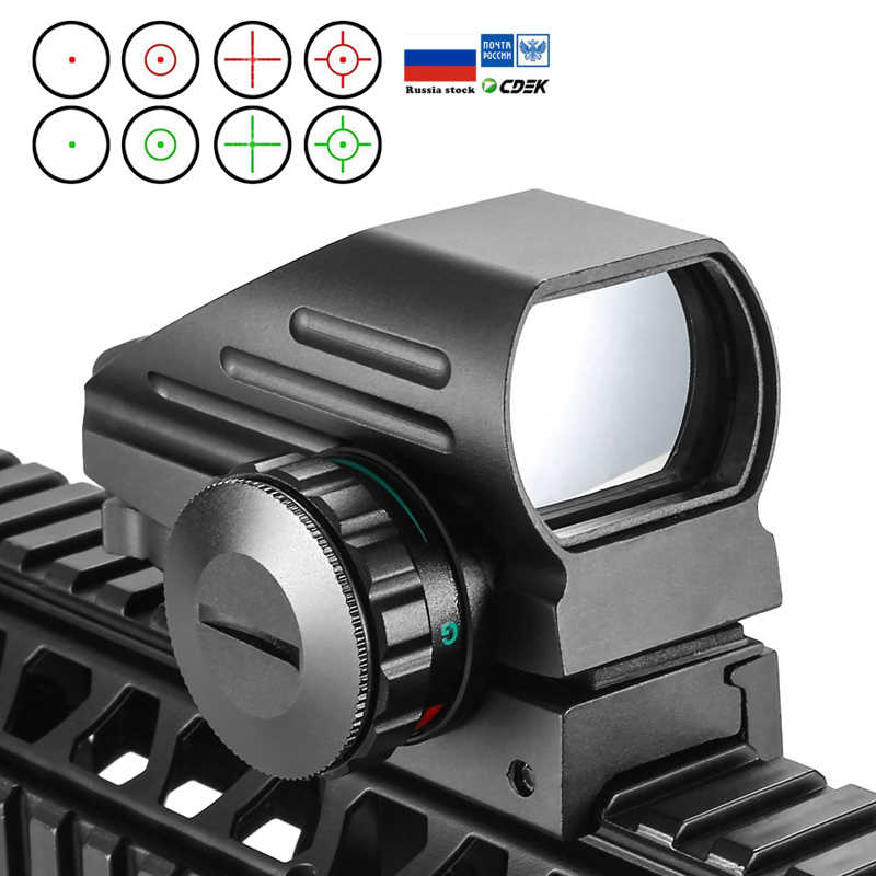Taktis Refleks Merah Laser Hijau 4 Reticle Hologram Proyeksi Dot Sight Lingkup Airgun Sight Berburu 11Mm/20Mm rail Mount AK
