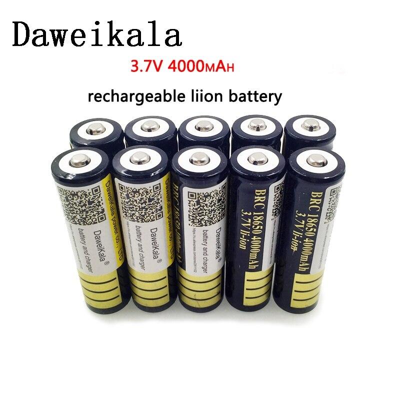 10 шт. 18650 Батарея 3,7 V 4000mAh перезаряжаемая liion батарея для светодиодного фонарика фонарь литиевая батарея + Бесплатная доставка